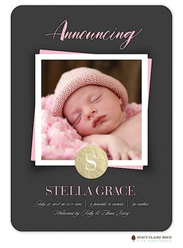Simple Snapshot Photo Birth Announcement