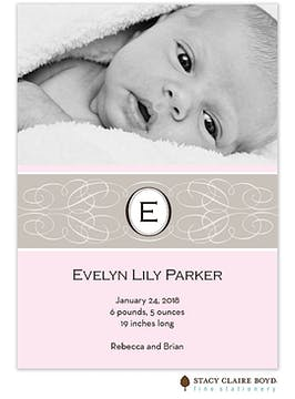Enchanted Pink Girl Photo Birth Announcement