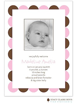 Simple Scallops Pink Girl Photo Birth Announcement