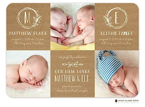 Twin Garden Wreaths Photo Birth Announcement