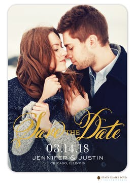 Glimmering Date Foil Pressed Photo Card