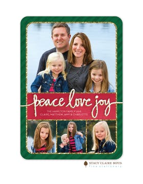 Glitter Sentiment Holiday Flat Photo Card