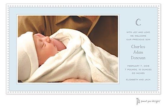 Antique Bead Border Blue Print & Apply Flat Photo Birth Announcement