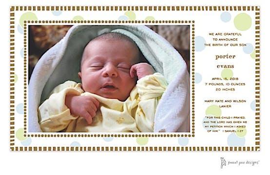 Cool Dots Blue & Chocolate Print & Apply Flat Photo Birth Announcement
