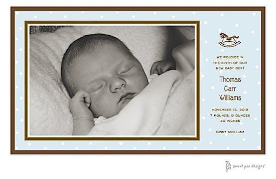 Little Dots Blue Print & Apply Flat Photo Birth Announcement