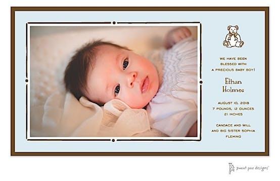 Vintage Frame Blue & Chocolate Print & Apply Flat Photo Birth Announcement