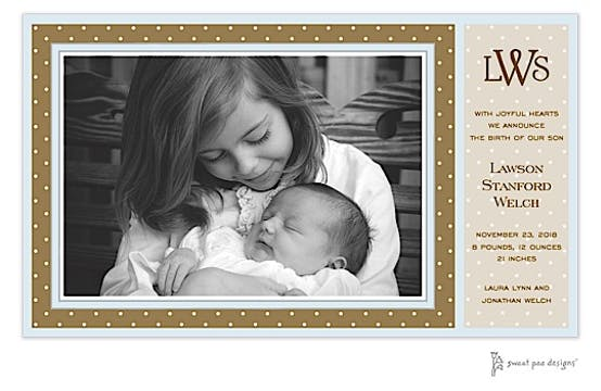 Dotted Frame Chocolate & Blue Print & Apply Flat Photo Birth Announcement