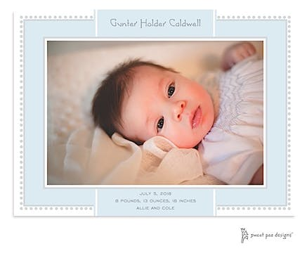 Antique Bead Border Blue & Silver Print & Apply Flat Photo Birth Announcement