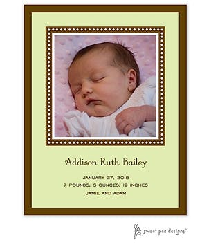 Dotted Border Lime & Chocolate Flat Photo Birth Announcement