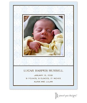 Damask & Dots Blue Flat Photo Birth Announcement