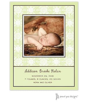 Damask & Dots Lime Flat Photo Birth Announcement