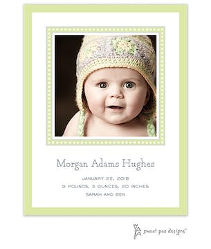 Dotted Border Lime & Silver Flat Photo Birth Announcement