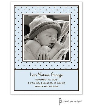 Tiny Dots Blue & Chocolate Flat Photo Birth Announcement