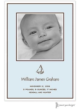 Classic Edge White & Chocolate On Blue Flat Photo Birth Announcement