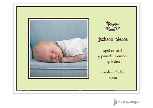 Classic Edge White & Chocolate On Lime Flat Photo Birth Announcement