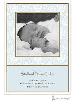 Damask Blue Flat Photo Birth Announcement