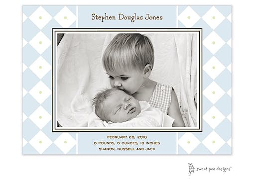 Diamonds & Dots Blue Flat Photo Birth Announcement