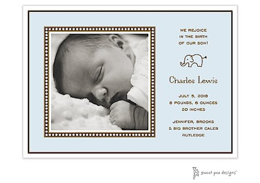 Dotted Border Blue Flat Photo Birth Announcement