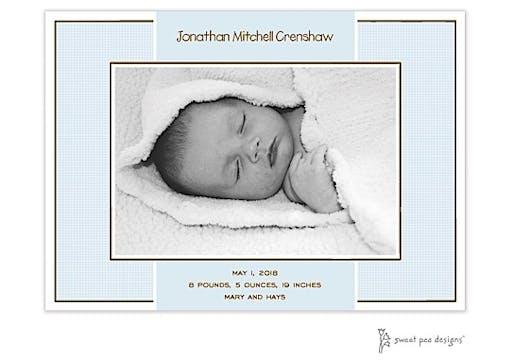 Linen Blue Flat Photo Birth Announcement