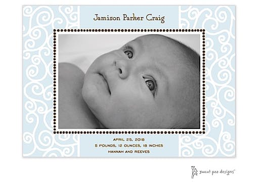 Scrollwork Blue & Chocolate Flat Photo Birth Announcement