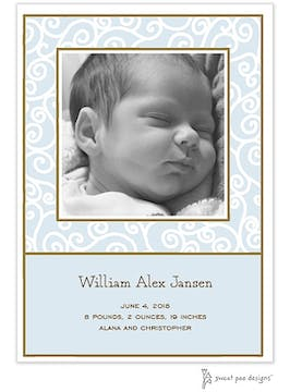 Scrollwork Blue Flat Photo Birth Announcement