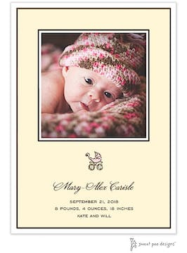 Classic Edge White & Chocolate On Ivory Flat Photo Birth Announcement