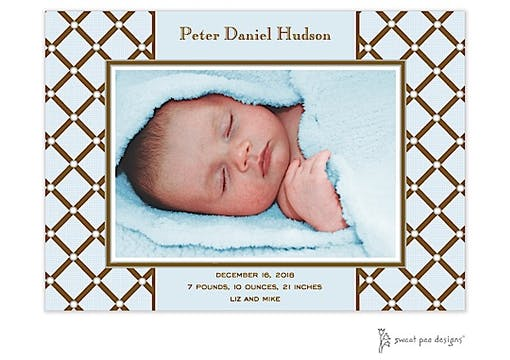 Square Diamonds Flat Photo Birth Announcement