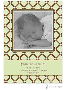 Square Diamonds Lime Flat Photo Birth Announcement