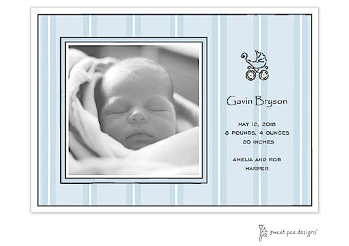 Tailored Stripes Blue Flat Photo Birth Announcement
