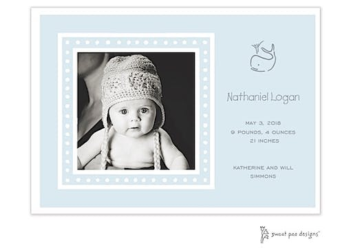 White Dotted Border Blue Flat Photo Birth Announcement