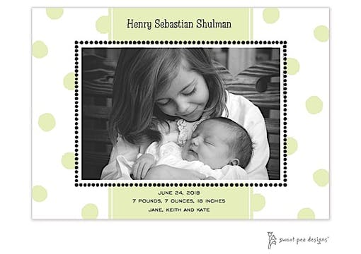 Big Dots Lime Flat Photo Birth Announcement
