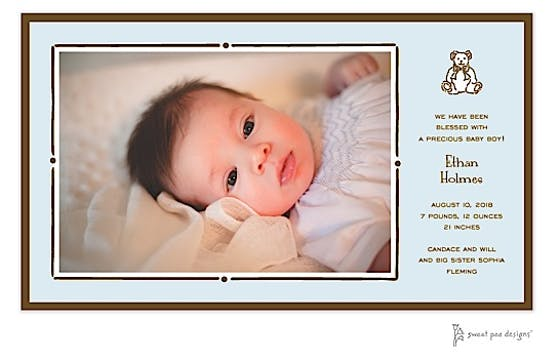 Vintage Frame Blue & Chocolate Flat Photo Birth Announcement