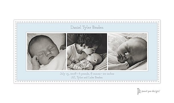 Antique Bead Blue Flat Photo Birth Announcement