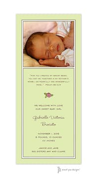 Classic White Border On Light Lime Flat Photo Birth Announcement
