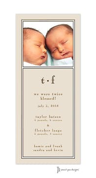 Classic White Border On Latte Flat Photo Birth Announcement