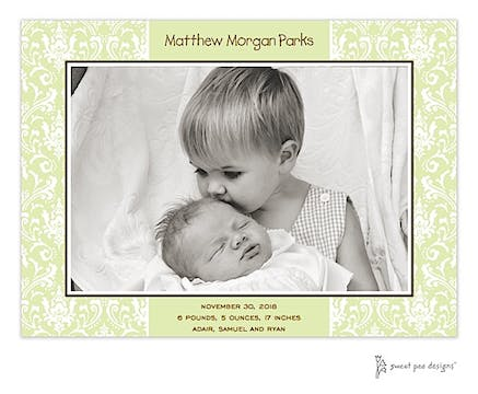 Damask Lime Print & Apply Flat Photo Birth Announcement