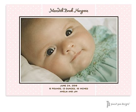 Sweet Dots Pink Print & Apply Flat Photo Birth Announcement