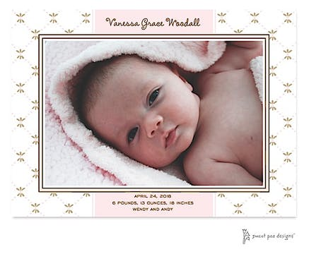 Fleur De Lis Pink Print & Apply Flat Photo Birth Announcement