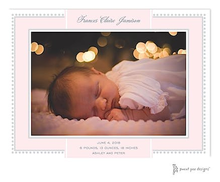 Antique Border Pink & Silver Print & Apply Flat Photo Birth Announcement