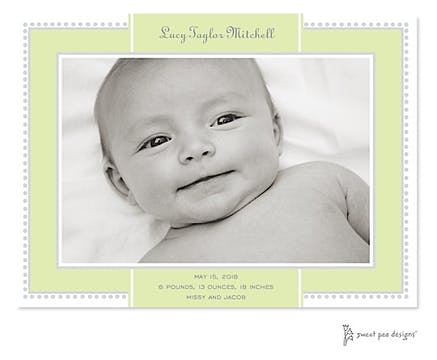 Antique Border Lime & Silver Print & Apply Flat Photo Birth Announcement