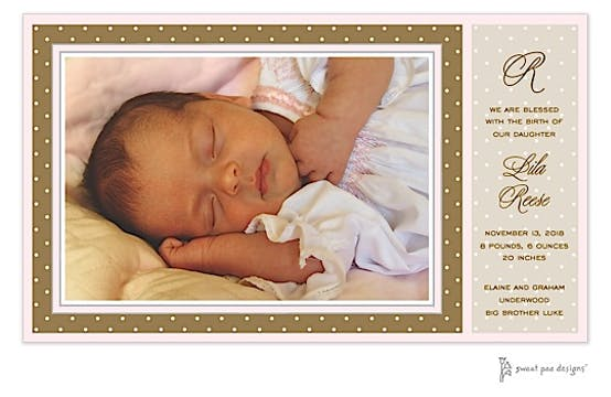 Dotted Frame Chocolate & Pink Print & Apply Flat Photo Birth Announcement