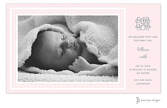 White Dotted Border Pink Print & Apply Flat Photo Birth Announcement