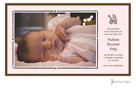 Vintage Frame Pink & Chocolate Print & Apply Flat Photo Birth Announcement