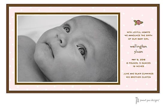 Little Dots Pink Print & Apply Flat Photo Birth Announcement