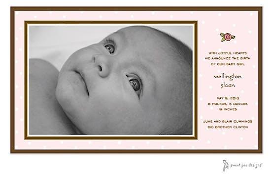 Little Dots Pink Print & Apply Flat Photo Birth Announcement