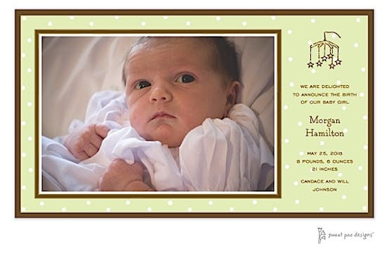 Little Dots Lime Print & Apply Flat Photo Birth Announcement