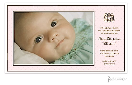 Tiny Dots Pink On Pink Print & Apply Flat Photo Birth Announcement