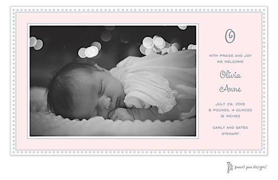Antique Bead Border Pink Print & Apply Flat Photo Birth Announcement