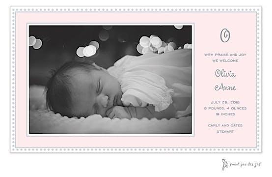 Antique Bead Border Pink Print & Apply Flat Photo Birth Announcement