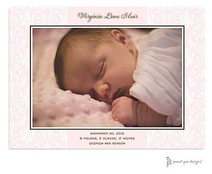 Damask Pink Flat Photo Birth Announcement